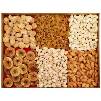 half kg each of assorted dry fruits and sweets
