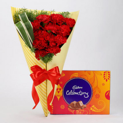 12 Red Carnations & Celebrations Box