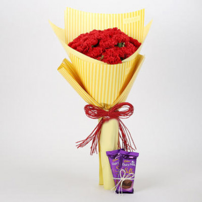 20 Carnations Bouquet & Dairy Milk Silk Combo