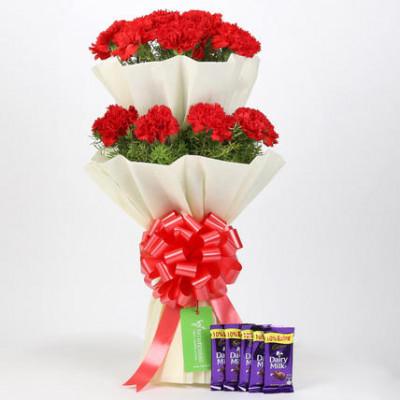 20 Red Carnations Bouquet & Cadbury Dairy Milk