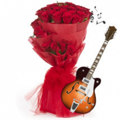 GUITARIST  RED ROSES BUNCH