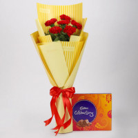 6 Red Carnations & Celebrations Box