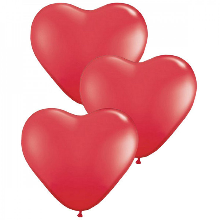 3 Pcs of Red Heart Shaped Air-Filled Balloons