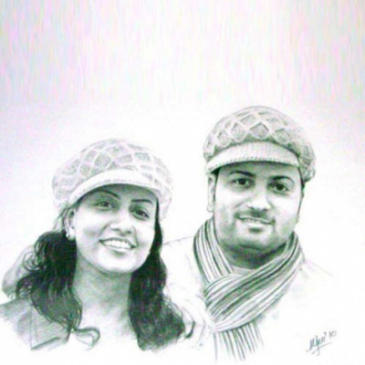 Couple Pencil Portrait A2 Size