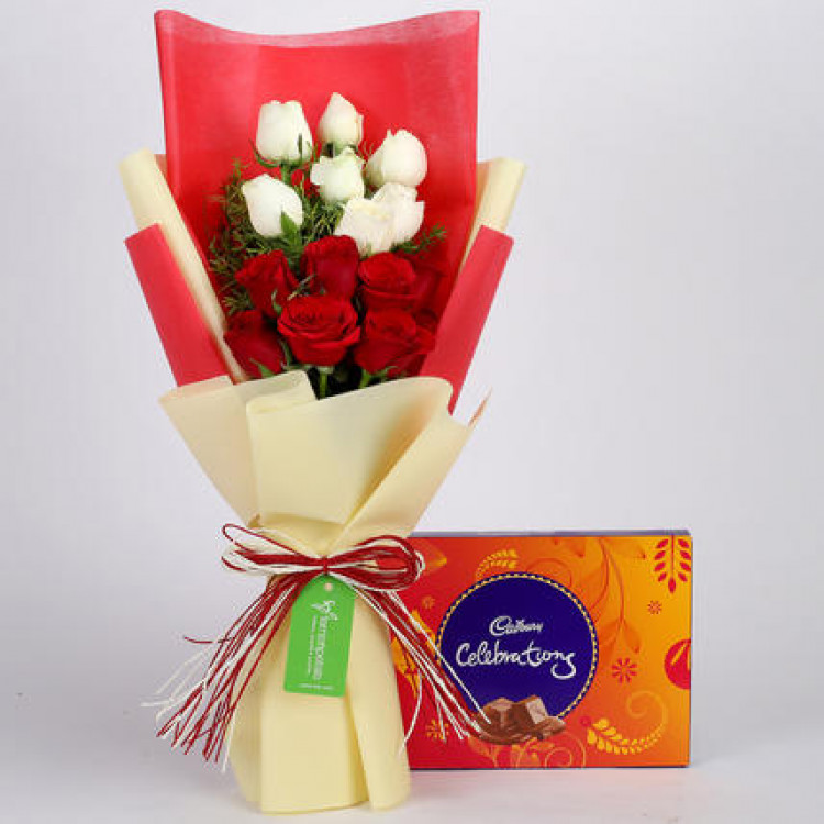 Cadbury Celebrations Box with Red & White Roses