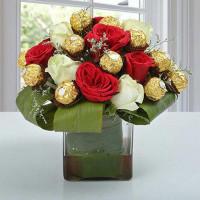 Roses & Ferrero Rocher in Glass Vase