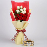 Ferrero Rocher Box with Red & White Roses