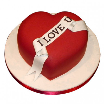 Red Heart Love You Valentine Cake