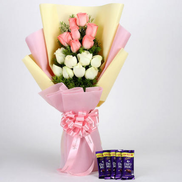 Pink & White Roses & Dairy Milk Combo