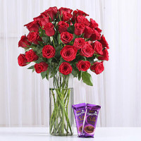50 Red Roses & Dairy Milk Silk Combo