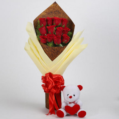 12 Red Roses & Teddy Bear Combo