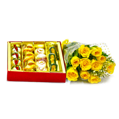 Assorted Sweets with Yellow Roses Bunch